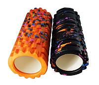 Массажный ролик/роллер (цилиндр, валик) для йоги BS Print, 33*14см, разн. цвета