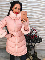 Красивое женское розовое пальто с мехом еврозима