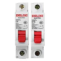 Delixi® DZ47S-1P/C AC 230/400V 6/16A 1P Пластиковый воздушный выключатель Миниатюрный автоматический выключатель
