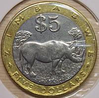 Монета Зимбабве 5 долларов 2002 г.