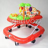 Детские ходунки музыкальная панель тормоз красные Bamby с пальмой звуки животных