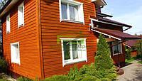 Отделка фасадов деревом домов из кирпича и пеноблока, фото 1