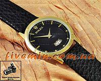 Мужские наручные часы Rolex Quartz Date Gold Black с календарем кварцевыя кожа Япония