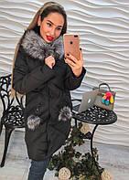 Красивое теплое пальто с капюшоном и мехом синее и черное