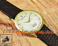 Мужские наручные часы Rolex Quartz Date Gold White с календарем кварцевыя кожа Япония