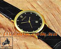 Мужские наручные часы Rolex Quartz Date Dimond Gold Black с календарем кварцевыя кожа Япония