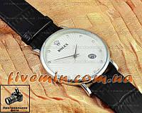 Мужские наручные часы Rolex Quartz Date Dimond Silver White с календарем кварцевыя Япония