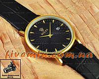 Мужские наручные часы Rolex Quartz Date Gold Black с календарем кварцевыя Япония