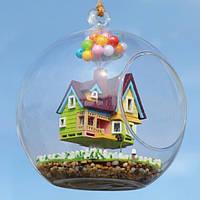 DIY дом Летающий дом стеклянный шар с лампой ручной работы деревянные игрушки
