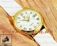 Женские наручные часы Rolex Quartz Roma Gold White с календарем кварцевыя кожа Япония