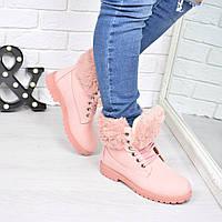 Зимние женские розовые ботинки эко-нубук Польша