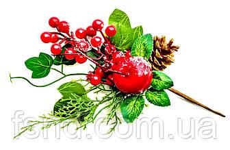 Ветка с ягодой и шишками (Новый год) 30 см