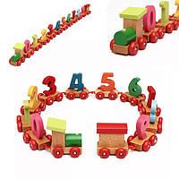 Детские обучающие игрушки деревянный маленький поезд с цифрами 0-9
