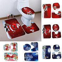 3PCSРождествоДомашнееукрашениеСнеговикСанта Туалет Салон Ванная комната Коврик для крыши Mat Closestool