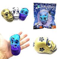 Chameleon Squishy Череп Скелетная голова 10см Хэллоуин-декор медленно растет с упаковочной подарочной игрушкой