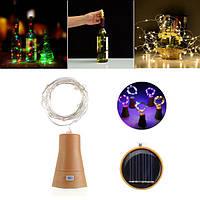 Солнечная Powered 8LEDs Cork Shaped Silver Провод Винная бутылка Fairy String Light для рождественской вечеринки