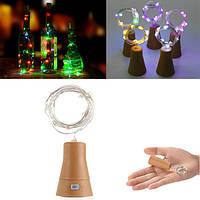 Солнечная Powered 10LEDs Cork Shaped Silver Провод Винная бутылка Fairy String Light для рождественской вечеринки