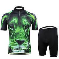 Езда на велосипеде костюм велосипед одежда мужчины рубашку и шорты зеленый тигр