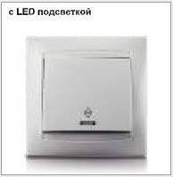 Выключатель LEMANSO Сакура  1-й проходной + LED подсветка   белый  LMR10