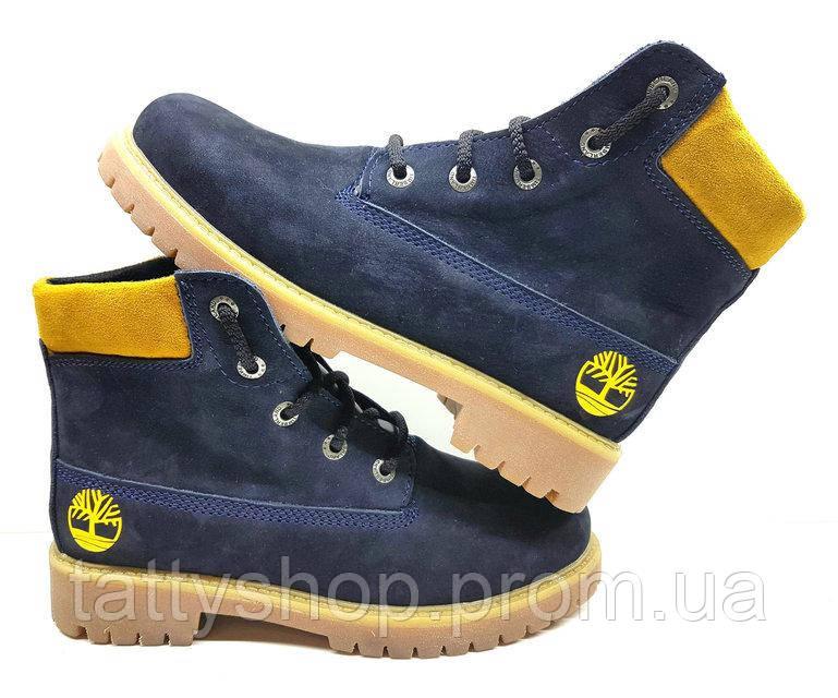 Зимние подростковые ботинки Timberland из нубука. Синие. Украина ... 9b8b96fed44