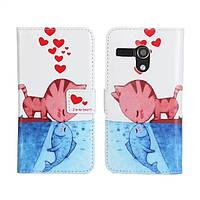 Кошки & рыбки поцеловать бумажник кожаный чехол для Moto G и смартфон
