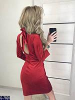 Женское платье 3/4 велюр с открытой спинкой на завязках красное 42 44 46