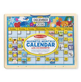Вечный деревянный магнитный календарь /Monthly Magnetic Calendar 133 магнита с месяцами, годами ТМ Melissa & Doug MD5058
