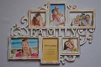 Рамка коллаж 3306 Family 6 фото белая с золотом
