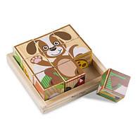 """Деревянные развивающие кубики """"Животные"""" / My First Wooden Cube Puzzle - Animals 16 куб-6 карт ТМ Melissa & Doug MD3769"""