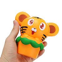 Squishy Tiger 13cm Soft Медленный рост 10s Коллекция Подарочный Декор Сожмите Игрушку Ослабителя Стресса