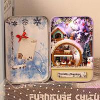 Iiecreate DIY Олово Коробка Секретный кукольный домик со светлым T-002 T-003 T-004 T-005 Подарок Home Office Decor