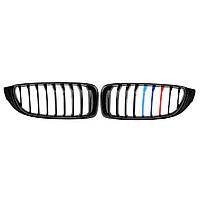 АвтоПараГлянцевыйчерныйПередниерешетки M цветная полоска для BMW 4 серии F32 F33 F36 F82