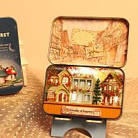 Iiecreate T-006 Счастье T-007 Новая Зеландия Ферма DIY Олово Коробка Тайный кукольный домик Миниатюрный подарок