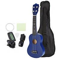 21 дюймов Экономичный сопрано Ukulele Uke Музыкальный инструмент с гигабитной сумкой Strings Tuner Blue