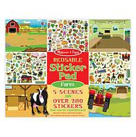 "Набор многоразовых наклеек ""Ферма"" /Reusable Sticker Pad - Farm 5 картинок + 280 стикеров ТМ Melissa & Doug MD30501"