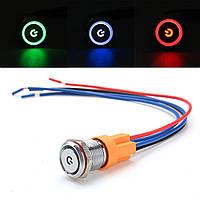 12mm 4Pin 12-24V LED Включение / выключение кнопочного переключателя Переключатель электропроводки Блокировка самоблокировки Водонепроницаемы