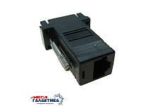 Удлинитель Megag VGA F (мама) - LAN F (мама)  (15 пин) (переходник для камеры видео наблюдения) 6A  Black OEM