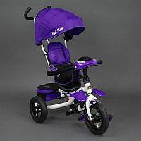 Велосипед 3-х колёсный 6699 Best Trike (1) ФИОЛЕТОВЫЙ БЕЛАЯ РАМА, надувные колёса, поворотное сидение, фара, ключ зажигания