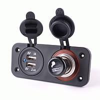 12-24В разъем питания Splitter с двойной USB зарядное устройство адаптер питания