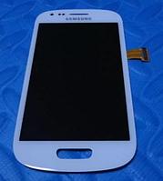 Оригинальный дисплей (модуль) + тачскрин (сенсор) с рамкой для Samsung Galaxy S III Mini i8190 (белый цвет)