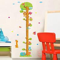 Мультфильм животных дерево стены стикеры детская игровая измерения стикер стены