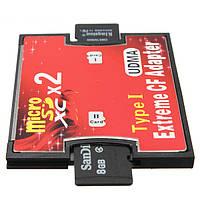 Двойной порт микро-SD TF для компактной флэш-памяти CF Тип I карт-ридер адаптер