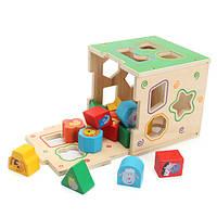 Деревянные дети Монтессори образовательных игрушек животных Геометрические блоки сборки игры