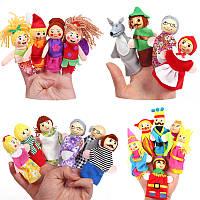 Рождество 7 типов Family Finger Puppets Set Soft Ткань Кукла Для детей Детский подарок Плюшевые игрушки