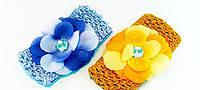Повязка для волос сеточка цветная с цветком.- длина 14,0 см. * ширина 7,0 см.