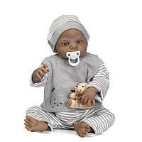 NPK 57CM Full Body Силиконовый Black Boy Reborn Baby Кукла Soft Детские игрушки для детей Playmate Toys