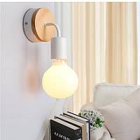 E27 Современные деревянные стены света Крытый прикроватный ресторан Спальня Лампа AC85-265V