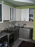 Кухня хай-тек белая металлик МДФ пленка, фото 2