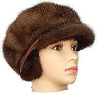 Норковая кепка мягкая,Мальвина (орех)