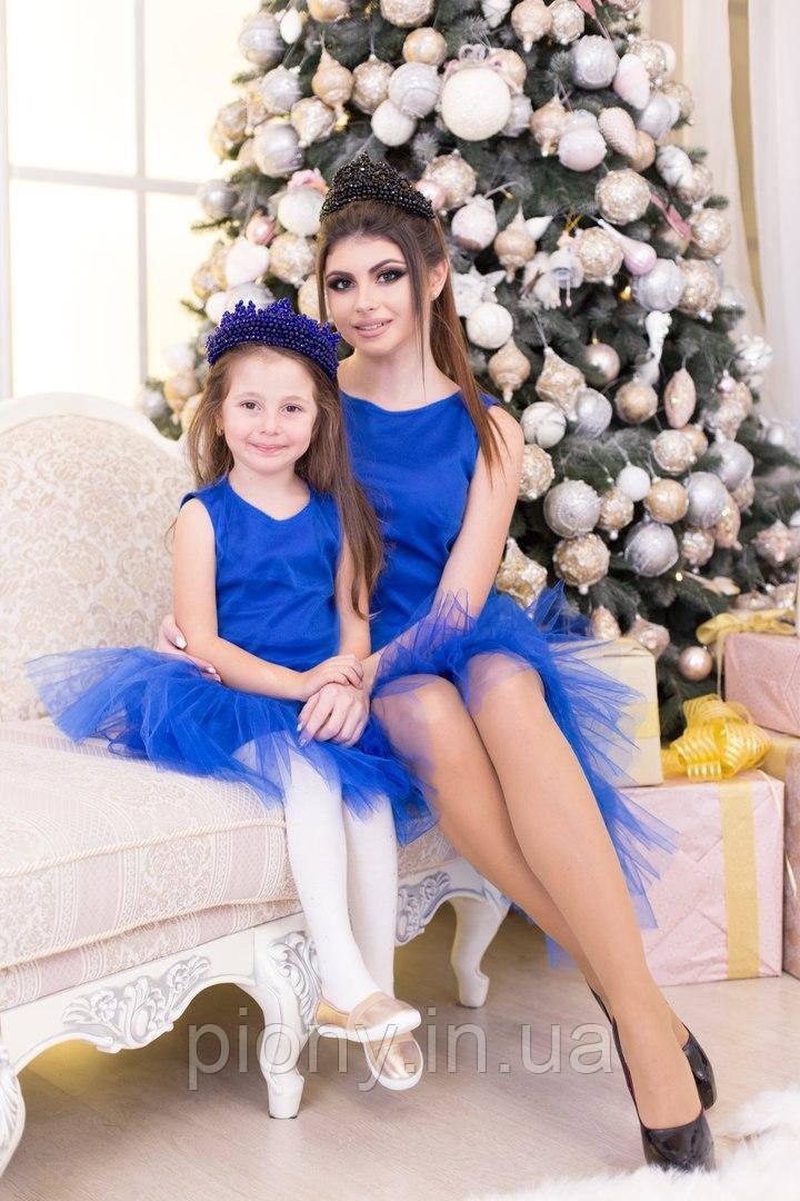 Комплект мама+дочка платье с фатином без рукав